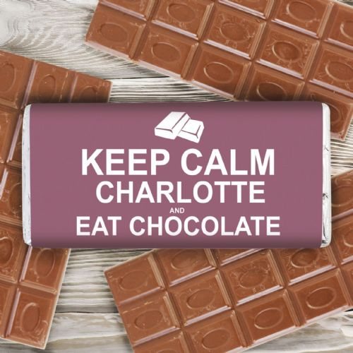 Personalised Keep Calm Eat Chocolate Chocolate Bar